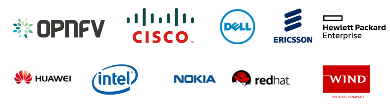 OPNFV, Cisco, Dell, Ericsson, HPE, Huawei, Intel, Nokia, Red Hat, Wind River